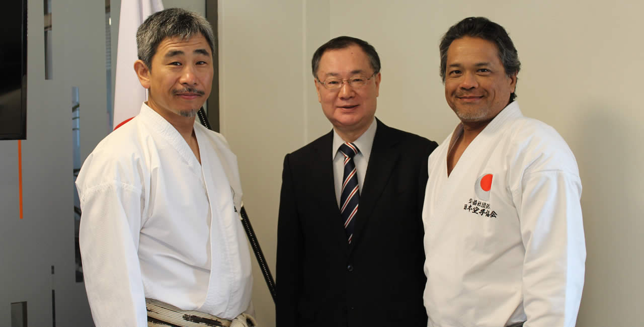(From left to right) - Chief Instructor Shihan Koichiro Okuma, His Excellency Yoshiharu Kato, Ambassador of Japan and Dr Didier Sam-Fat, President of JKA Mauritius.