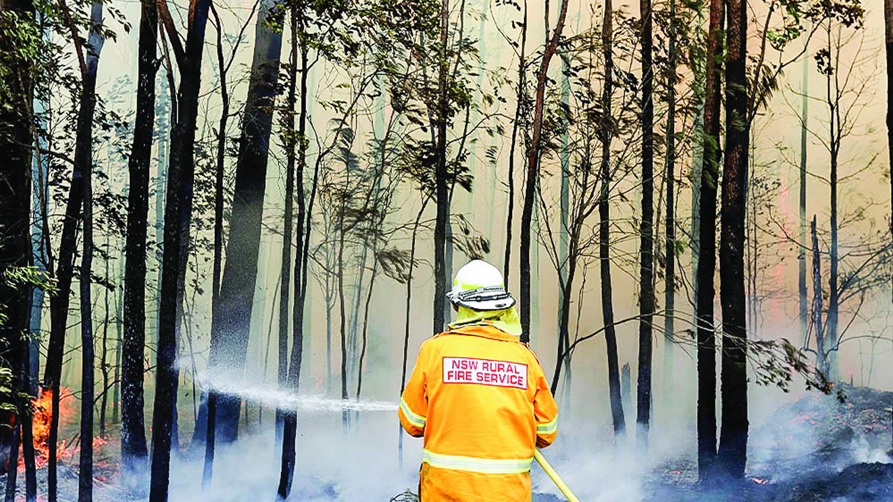 A firefighter manages a controlled burn as auhtorities took advantage of relatively benign conditions earlier this week to consolidate containment lines around more than 110 blazes, state Rural Fire Service Commissioner Shane Fitzsimmons said.