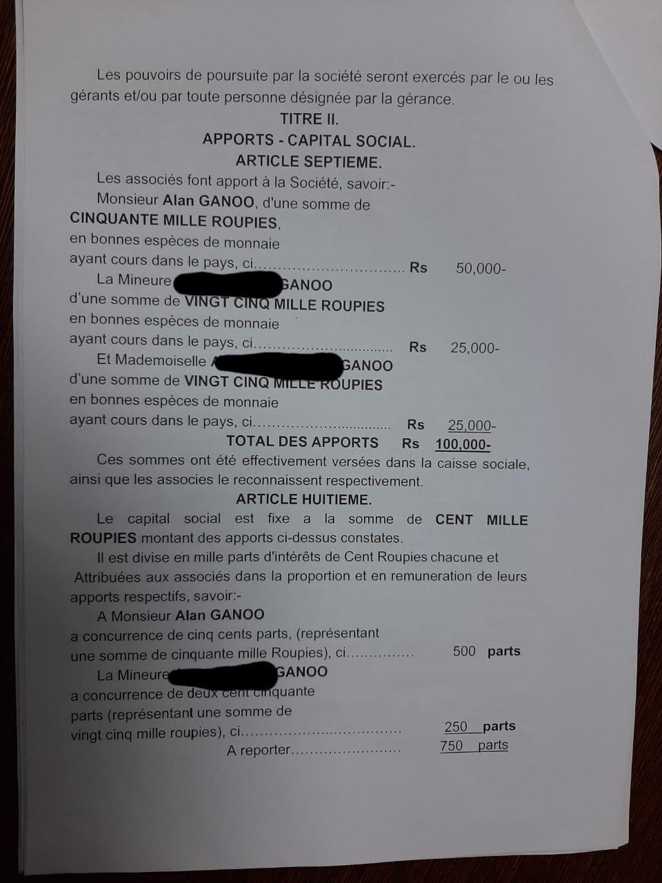 contrat Société Patanjali Alan Ganoo 1