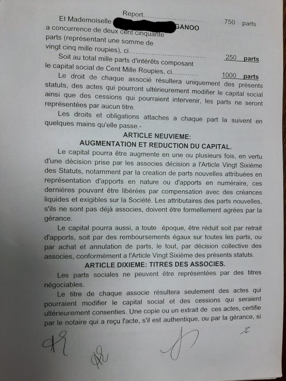contrat Société Patanjali Alan Ganoo 2