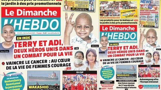Voici la Une de Le Dimanche/L'Hebdo de ce dimanche 02 aout 2020