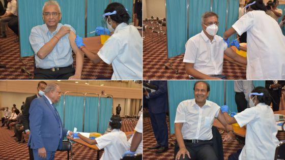 [En images] : Le PM, le Speaker, le leader de l'opposition et les ministres ont reçu leur première dose du vaccin contre la Covid-19