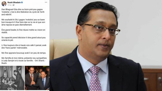 Décès de SAJ : Roshi Bhadain rend hommage à un «grand leader»