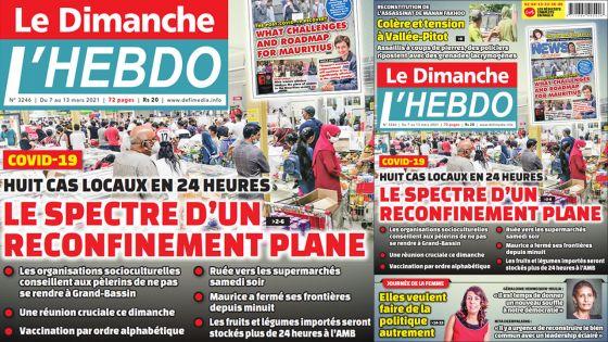 Voici la Une de Le Dimanche/L'Hebdo de ce dimanche 07 mars 2021