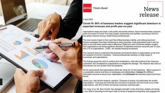 Covid-19/Confinement : 94 % des business leaders craignent une croissance négative, selon l'ACCA