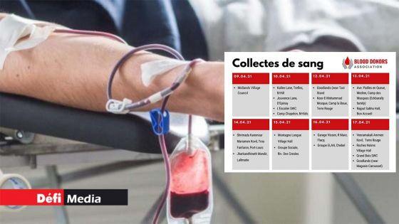 Don de sang : un calendrier établi pour une semaine