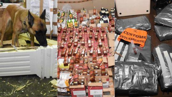 Lors d'un exercice de contrôle : 30,5 kg de haschich et 1 003 bouteilles de whisky interceptés au port