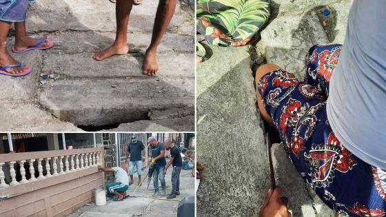 Cassis : le trottoir réparé après la mésaventure d'une dame qui s'était retrouvée le pied coincé dans un trou
