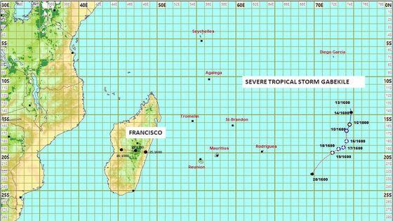 Tempête Gabekilé : voici la trajectoire prévue par la station de Vacoas