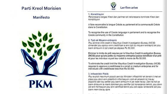 Le Parti Kreol Mauricien (PKM) dévoile son manifeste électoral