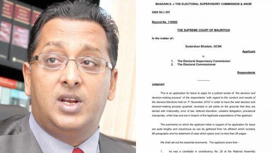 Contestation des résultats des élections : la demande de Judicial Review de Bhadain rejetée, voici le jugement