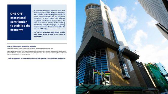 [Breaking news] Finances publiques : La Banque de Maurice verse Rs 60 milliards à l'Etat
