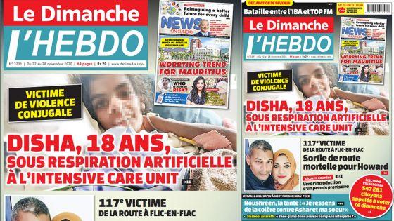 Voici la Une de Le Dimanche/L'Hebdo de ce dimanche 22 Novembre 2020