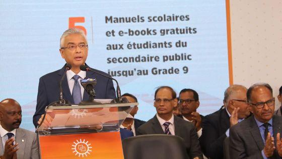 Manifeste électoral de l'Alliance Morisien : manuels scolaires gratuits aux élèves du secondaire public jusqu'au Grade 9