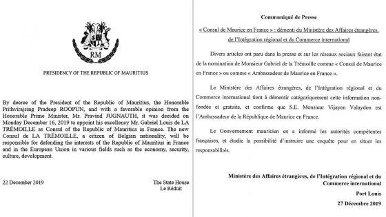 Consul de Maurice en France :une vraie fausse nomination référéeà la police par le gouvernement