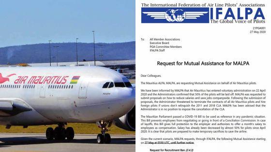 La Fédération internationale des pilotes appelle à refuser tout offre d'emploi d'Air Mauritius