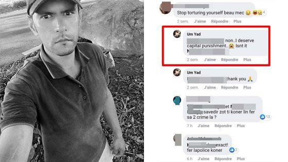 Sur Facebook, une semaine de cela - Umyad : « I deserve capital punishment »