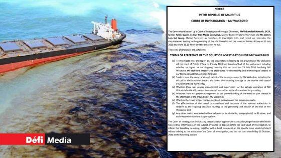 Wakashio et marée noire : découvrez les «Terms of Reference» de la Court of Investigation
