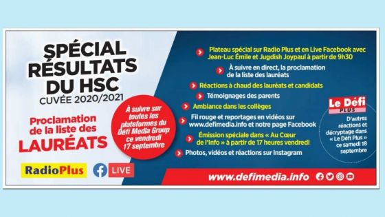 Spécial résultats du HSC cuvée 2020/2021 : À suivre sur toutes les plateformes du Défi Media Group ce vendredi
