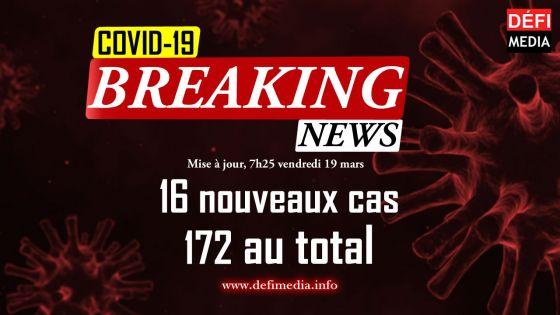 Covid-19 : 16 nouveaux cas, dont 15 en quarantaine