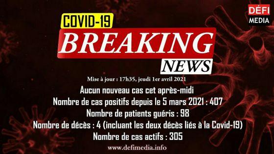 Covid-19 : aucun nouveau cas détecté cet après-midi