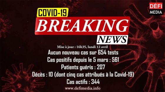 Covid-19 : aucun cas positif enregistré sur 654 tests effectués