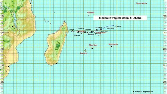 Météo : Chalane à 530 km au nord-nord-ouest de Maurice ; temps pluvieux et rafales de 80 km aux endroits exposés
