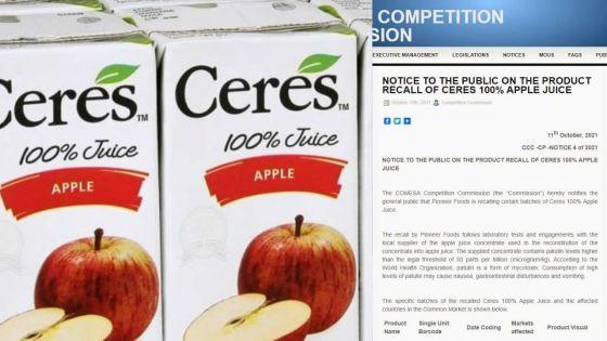 Niveau élevé de patuline : le jus de pomme Ceres rappelé dans sept pays, dont Maurice
