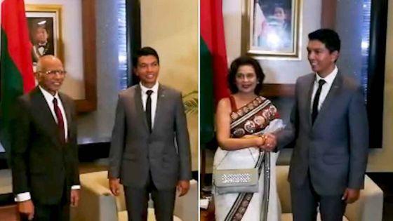 Visite de courtoisie : Le chef juge Keshoe Parsad Matadeen et la Speaker de l'Assemblée nationale rencontrent Andry Rajoelina