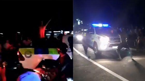 Grand-Baie : il danse torse nu devant un véhicule de la police avant de monter sur le caisson