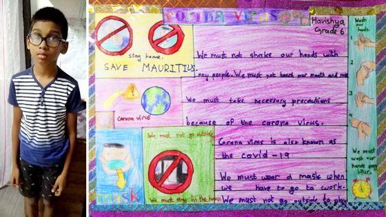 Coronavirus : Havishya, 10 ans, fait un dessin pour sensibiliser les Mauriciens