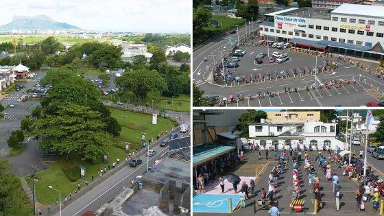 [Images de drone] Réouverture des supermarchés : de l'attente en file d'indienne