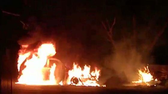 Baie-du-Tombeau : grosse frayeur pour un automobiliste, sa voiture prend feu