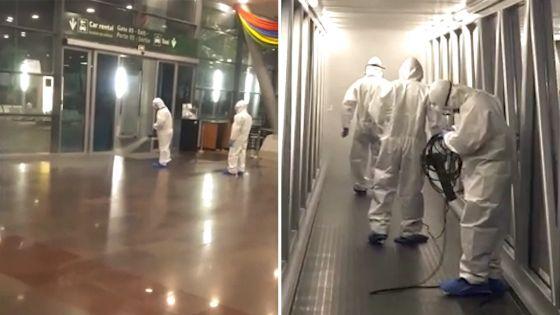 Aéroport : Exercice de désinfection au terminal