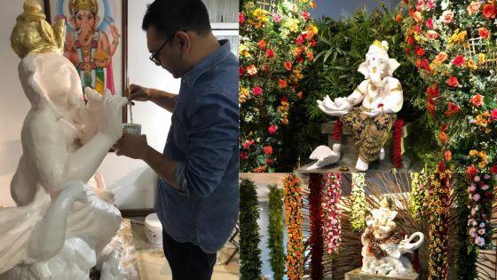 Touches finales pour la fête Ganesh Chaturthi