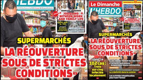 Voici la Une de Le Dimanche/L'Hebdo de ce dimanche 29 mars 2020