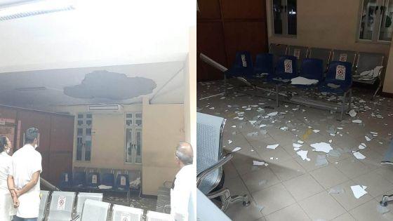 Hôpital de Moka : le crépi du plafond s'effondre dans la salle d'attente