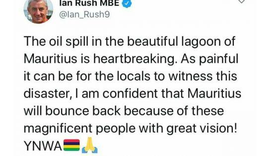 Wakashio : Ian Rush rend hommage au combat des Mauriciens