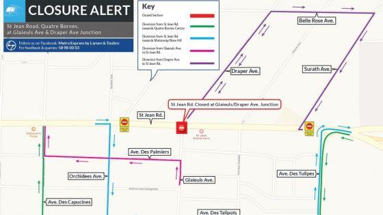 Travaux du Metro Express : la route St-Jean partiellement fermée le soir