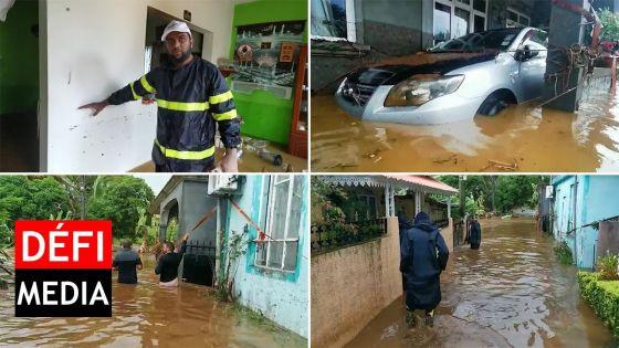 Petit-Bel-Air : les Joomun dans l'eau jusqu'aux reins, une voiture à moitié submergée