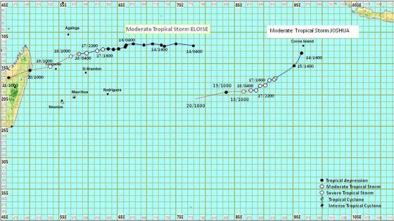 Météo : la tempête tropicale modérée Eloïse à 730 km de Maurice