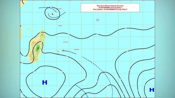 Zone de base pression à 1 500 km de Maurice: elle pourrait être baptisée Ambali par le service météo de Madagascar