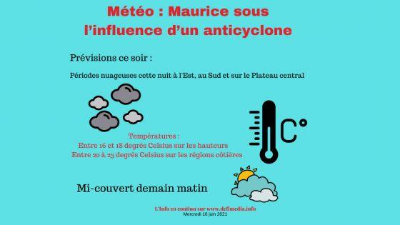 Anticyclone au sud-ouest des Mascareignes : des périodes nuageuses sont à prévoir cette nuit
