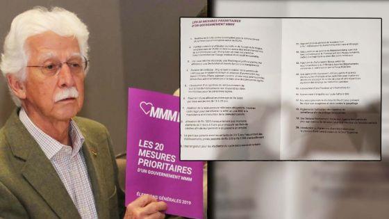 La pension de vieillesse, une allocation chômage, l'Icac, l'Adsu et la MBC parmi les 20 mesures prioritaires du MMM