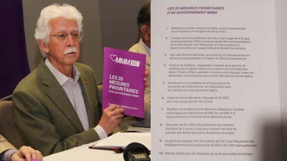 Législatives 2019 : voici les «20 mesures prioritaires d'un gouvernement MMM»