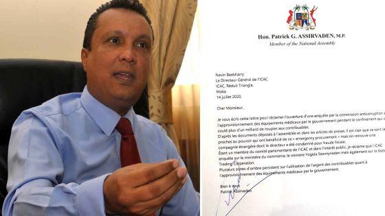 Polémique sur les achats médicaux : Assirvaden demande à l'Icac d'ouvrir une enquête sur Sawmynaden et la STC