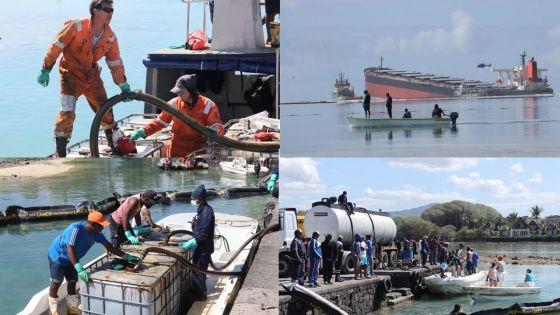 [En images] Marée noire : l'exercice de pompage de fioul se poursuit ce samedi