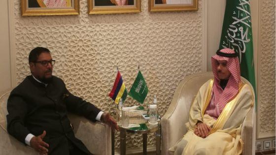 Le nouvel ambassadeur de Maurice en Arabie Saoudite, Soodhun, rencontre le ministre des Affaires étrangères saoudien