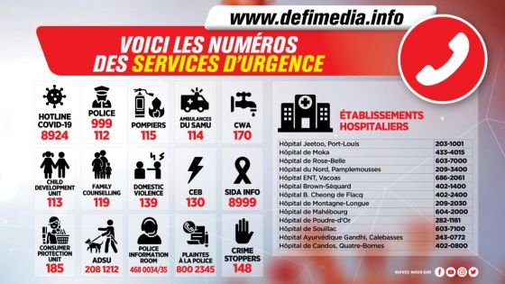 Confinement 38e jour - Voici les numéros des services d'urgence
