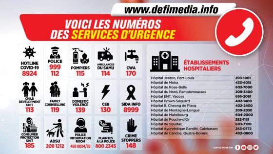 Voici les numéros des services d'urgence :